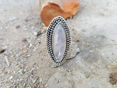moonstone ring for sale long statement ring marquise shape natural gemstone anniversary gifts. Rose Gold Moonstone Ring, Rainbow Moonstone Ring, Moonstone Jewelry, Gemstone Rings, Crystal Ring, Full Finger Rings, Blue Rings, Silver Rings, Charm Rings