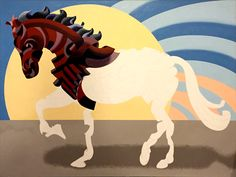 """Mark Webster - Progress on Abstract Geometric Futurist Horse Oil Painting - 36x48"""" Oil on Canvas."""
