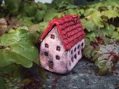 Collectible OOAK handmade miniature air dry clay houses – Village house 01