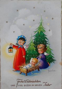 WEIHNACHTEN - sign FRANKIE, 2 ENGEL betrachten schlafendes Baby - 1963 | eBay Christmas Manger, Christmas Art, Christmas And New Year, Xmas, Christmas Ornaments, Christmas In Germany, Christmas Scrapbook, Old Fashioned Christmas, New Year Card