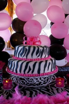 Hot pink and Zebra Birthday Party Ideas Cake Birthdays and Babies