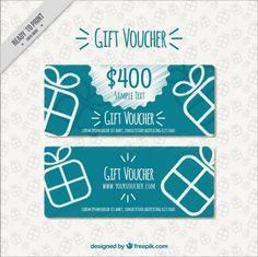 Hand drawn gift voucher Free Vector