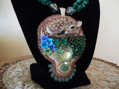 Bead Embroidery Porcelain Fawn Necklace by TatasBeadCreations, $240.00