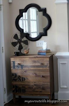 My EnRoute life: IKEA Tarva turned Knock Off Anthro Ordinal Dresser {LOVE THIS for Enoch's dresser, I may get the taller dresser though, and stencil something else in black...}