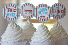 12 Red & Blue Little Red Wagon Theme Birthday Cupcake Toppers - Ask About our Party Pack Sale - Free Ship Over 60.00 via Etsy