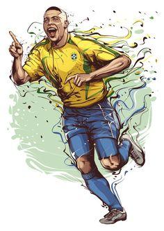 Sport Club Corinthians Paulista - Brazilian Sports Legends: Ronaldo - Football Player by Cristiano Siqueira Football Brazil, Football 2018, Football Art, Football Stuff, Ronaldo Football Player, Ronaldo 9, Football Players, Cr7 Messi, Equipement Football