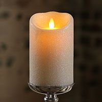 Luminara Unscented Ivory Glitter Flameless Candle 3.5 x 5 Timer - Remote Ready