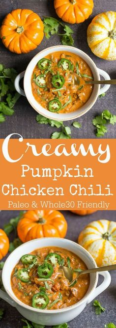Pumpkin Chicken Chili This fall dinner is so good for a chili cook-off, football season, or gathering with friends! So easy!This fall dinner is so good for a chili cook-off, football season, or gathering with friends! So easy! Savory Pumpkin Recipes, Healthy Diet Recipes, Healthy Soup Recipes, Chili Recipes, Vegetarian Recipes, Cooking Recipes, Cooking Tips, Cooking Steak, Keto Recipes