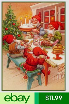 Elves Holiday Meal Jenny Nystrom Christmas Counted Cross Stitch or Counted Needlepoint Pattern