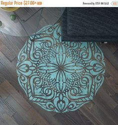 ON SALE Mandala Stencil Floor Stencil Mandala by StencilsLabNY