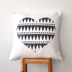 Valentine Pillow, Geometric Love, Heart, Decorative Pillows, Throw Pillow, Cushion Cover, Black and White