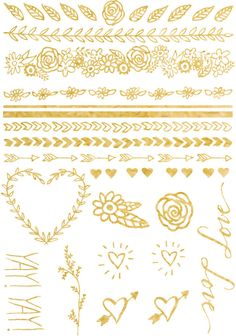 Gold Metallic Temporary Tattoos, Floral Custom Flash Tattoo, Bracelet, Earring, Ring, Flower, Hearts, Love, Kids, Childrens, Gold Tattoo by ShineOnTattoos on Etsy