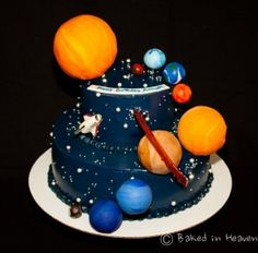 solar system cake - - solar system cake Solar System Planets Party – Talon's 3 year Sonnensystem Kuchen Bolo Laura, Solar System Cake, Planet Cake, Lemon And Coconut Cake, Galaxy Cake, Unique Cakes, Cakes For Boys, Savoury Cake, Themed Cakes
