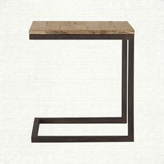 """Palmer 17"""" Rectangle Serving End Table With Iron Base In Ashland Natural 