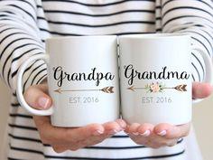 Gift for Grandparents, Mug Set, Couples Mug, Grandma Mug, Grandparent Gift, Pregnancy Reveal Mug, new grandparents, Grandpa mug, by BlueSparrowDesignsCo on Etsy https://www.etsy.com/listing/457641156/gift-for-grandparents-mug-set-couples