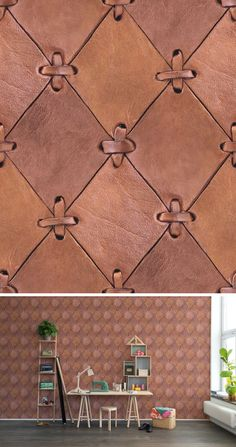 brown leather diamonds panels. wall sinding. rivestimento murale in pannelli di cuoio #wallpaper