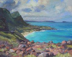 Overlooking Makapu'u Beach by Todd Derr Oil ~ 16 x 20