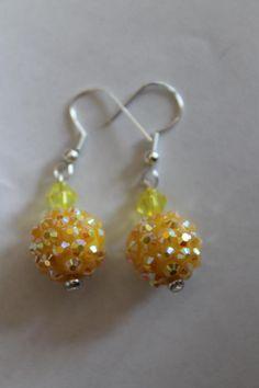 yellow disco ball dangle earrings