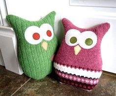 Owl Pillow- cute way to upcycle old sweaters