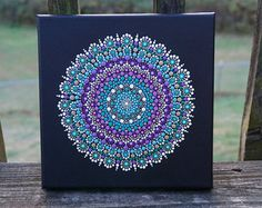 Dot Mandala Painting Gold Star Art on Wrapped by LaBellaArtigiana
