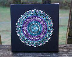 Punto Mandala pintura Trippy resplandor en el por LaBellaArtigiana