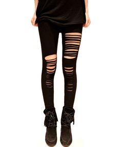 Slashed Ripped Black Leggings by NewSpiritVintage on Etsy, $18.00