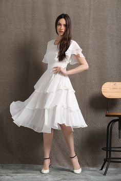 White Chiffon Dress - Floaty Feminine Tiered Skirt Frilly Sleeves Fit & Flare Style Summer Womens Dress - Prom or Party Dress Prom Party Dresses, Bridesmaid Dresses, Dress Party, Ruffle Dress, Chiffon Dress, White Dress Summer, Summer Dresses, Simple Dresses, Dress Meaning
