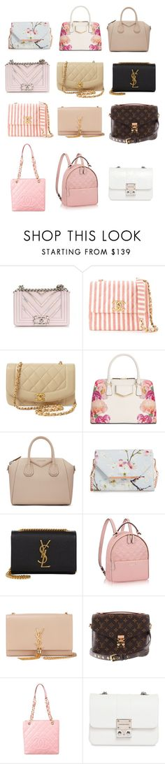 """gabi demartino inspired purses"" by novaturient98 ❤ liked on Polyvore featuring Chanel, Calvin Klein, Givenchy, Ted Baker, Yves Saint Laurent, Louis Vuitton and Design Inverso"