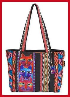 77d6655969 Stacked Whiskered Cats Medium Tote Bag by Laurel Burch