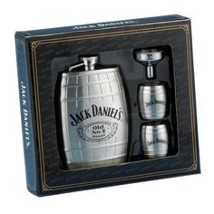 $45.15-$50.00 This gift set includes a barrel-shaped hip flask, two stainless steel barrel shot glasses, and a flask funnel.  The main subject of the flask is the Jack Daniel's Swing logo and Old No. 7 with Cartouche logo appearing in the center. Twist-off stainless steel captive top is permanently attached to the flask for loss prevention.  The shot glasses are decorated with the Jack Daniel's  ...