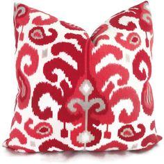Duralee Raspberry Ikat Decorative Pillow Cover, Square, Eurosham or Lumbar Pillow, Accent pillow, Throw Pillow