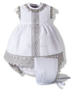 Vestido de lino blanco y gris White dress with gray lace trim Die Kleinen, Belles Choses, Kind Mode, Little Girl Dresses, Little Girls, Girls Dresses, Flower Girl Dresses, Toddler Outfits, Kids Outfits