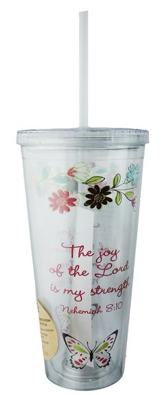 """Take this inspirational message wherever you go with this 24 oz acrylic cup that includes a drinking straw. Reusable and sturdy, this cup makes a unique gift! """"The joy of the Lord is my strength."""" Nehemiah 8:10 $11.99"""