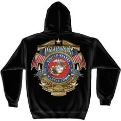 Badge of Honor Hooded Sweatshirts cotton, polyester Air jet yarn Double-needle stitching throughout ribbed cuffs and waistband with spandex Pouch pocket Double-lined hood with drawstring Imported Marine Corps T Shirts, Custom Screen Printing, Usmc, Marines, Customized Gifts, Black Men, Hooded Sweatshirts, Hoods, Badge