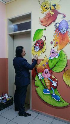 Wall painting- Malování na zed Wall painting - School Hallway Decorations, Classroom Wall Decor, Classroom Walls, Room Wall Painting, School Murals, Board Decoration, School Painting, Vinyl Decor, Art Wall Kids