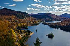 Aerial shot of Lake Monroe near Mt. Tremblant, QC #Tremblant