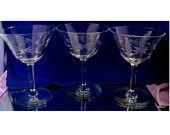 Set/3 Etched Vintage Crystal Wine / Cordial Goblets