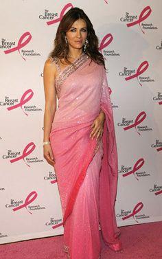 @ElizabethHurley in #Gorgeous #Pink ombre #Desi #Saree -