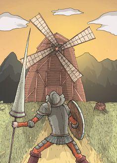 """Don Quijote peleando con un """"gigante"""", que en la realidad es un molino."""