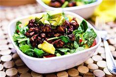 vegan: bbq tofu, edamame & pineapple spinach salad with nectarine balsamic dressing...