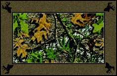 Obsession Mossy Oaks Leaves & Bordered Camouflage Nylon Area Rug