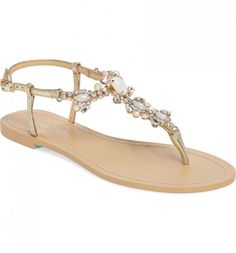 24 Wedding Sandals You Can Definitely Wear Again  - flat tan thong sandal with pearl and silver beading on strap