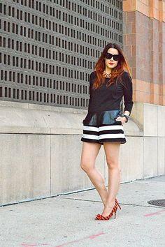 Sporty peplum meets striped shorts. #streetstyle