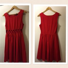 """Red Front-Cutout Dress Red dress with front cutouts that makes an X. Worn once for a special occasion. Length shoulder is 35"""", from underarm seam is 26"""" .  No trades Forever 21 Dresses Mini"""