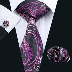 2016 Hot New Men`s Tie Silk Purple Paisley Jacquard Woven Tie+Hanky+Cufflinks Set For Formal Wedding Business Party Pocket Square Guide, Tie And Pocket Square, Pocket Squares, Paisley Tie, Cufflink Set, Men Formal, Bright Purple, Tie Set, Jacquard Weave