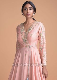 Rose Pink Silk Angrakha Style Suit With Floral Hand Embroidery Online - Kalki Fashion Embroidery Suits Punjabi, Embroidery Dress, Embroidery Online, Hand Embroidery, Indian Gowns Dresses, Pakistani Dresses, Fancy Dress Design, Gala Design, Angrakha Style