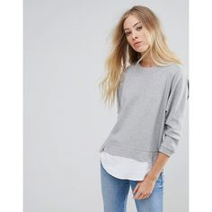 b.Young Jumper With Shirting Panels ($42) ❤ liked on Polyvore featuring tops, sweaters, grey, 3/4 length sleeve shirts, jumper shirt, grey jumper, shirt sweater and crew-neck sweaters