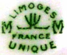 Marques estampilles des porcelaines de Limoges M