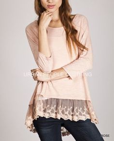 ON MY MIND Flowy Rose Poet Dreamy Cotton Lace T-shirt/Top/Blouse URBAN PEOPLE L #Urbanpeopleclothing #KnitTop #Casual