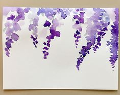 Wisteria Purple Flower Watercolor Card Floral Greeting Card